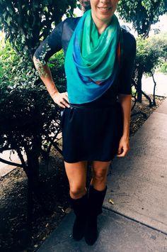 """Modal Scarf """"Mi Ventana"""" VIDA Voices Collection Graciela Blancarte. shopvida.com #fineart #fashion #womenfashion #textiles #abstractart #shopvida"""