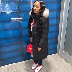 Dope Outfits, Fall Outfits, Long Puffer Coat, Pose For The Camera, All Black Outfit, Black Girl Fashion, Streetwear Fashion, Baddie, Canada Goose Jackets
