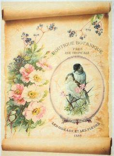 Rice Paper for Decoupage, Scrapbook Sheet, Craft Paper Vintage Botanic Garden
