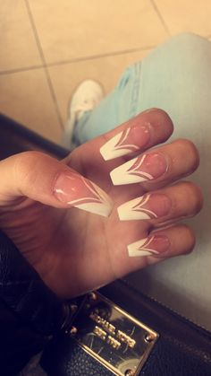 French design long Acrylic Nails Coffin Shape