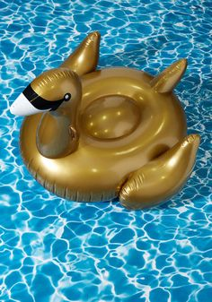 You know how to make the water your playground, and with this inflatable raft in tow, the fun flows even deeper! Enhanced with plastic handles and a recessed seat for ultimate chillin', this gold swan is party-ready. After all, birds of a feather 'float' together!