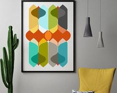Colorful Modern Abstract Art, Mid-Century Modern Prints, Contemporary Modern, Eames, Danish Modern, Colorful Decor, Retro Style Wall Art