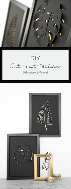 """Cut-out-Bilder Monstera und Palmenblatt Spring decoration: These DIY cut-out pictures in a classy black and gold station wagon create an in-house """"urban jungle"""" in no time and draw everyone's attention! Diy Paper, Paper Art, Paper Crafts, 3d Cuts, Spring Decoration, Cut Out Pictures, Foto 3d, Diy And Crafts, Arts And Crafts"""