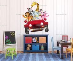 Muurstickers Babykamer & Kinderkamer Dieren Oerwoud Safari, Jungle Wall Stickers, Diy Store, Jungle Animals, Zebras, Giraffe, Elephant, Wall Murals, Modern