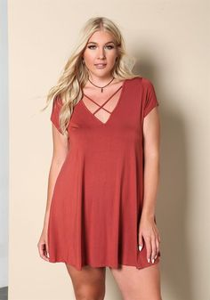 Plus Size Clothing | Plus Size X Strap Jersey Knit Shift Dress | www.Debshops.com