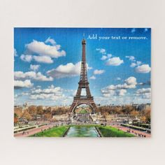 Scenic Photograph: Eiffel Tower and Paris skyline Jigsaw Puzzle - photographer gifts business diy cyo personalize unique
