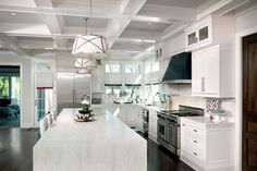 Painted Coffered Ceilings, Transitional, kitchen, Katie Bassett Interiors