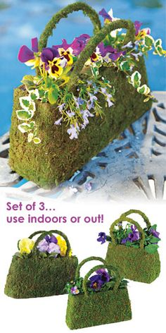 Using Chicken wire and artificial moss with plastic liner for planting real annuals Beaumont Moss Basket You'll have the most unique color spot on the street. Garden Crafts, Diy Crafts, Mosses Basket, Arte Floral, Topiary, Dream Garden, Unique Colors, Yard Art, Container Gardening