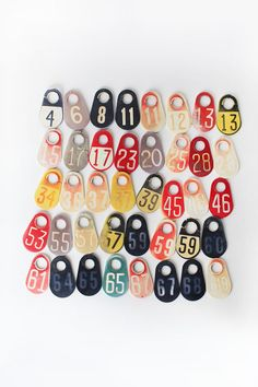 Vintage Plastic Number Tag, Cow Tag NOTE: This listing is for one cow tag only 5 available all the rest are SOLD OUT! faded pale yellow and