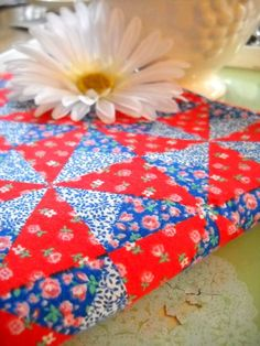 Charming Vintage Fabric - Darling Red and Blue Calico Patchwork Print