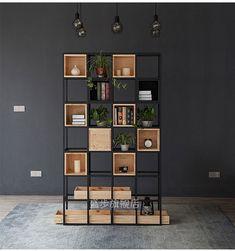 Restaurant floor lattice shelf living room partition shelves bookshelf creative iron wood lattice cabinet office bookcase