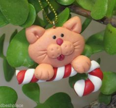 Handmade small Clay Orange CAT with Candy Cane Vet Pet Shop Ornament NEW