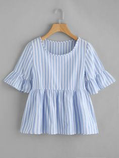 SheIn offers Contrast Striped Frill Cuff Smock Blouse & more to fit your fashionable needs. Blue Fashion, Girl Fashion, Fashion Outfits, Streetwear Online, Casual Outfits, Cute Outfits, Frill Tops, Peplum Tops, Blouse Models
