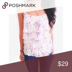 """Anthropologie Pretty Floral Multi Ruffle Tank This tank top has light multi layer ruffles cascading down the body of it.the fabric is soft & airy with a dainty floral print. By Anthro brand Weston Wear{actual color of item may vary slightly from photos}  •chest:14.5"""" •waist:15""""w •length:17.5"""" •straps:adjustable   Material:100% cotton  ️machine wash  Fit:true Condition:no rips no stains  ❌no holds ❌no trades ♥️️bundles of 3/more items get 20% off Anthropologie Tops Tank Tops"""