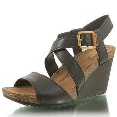 Overly Shimmer Black Leather Clarks Wedge Sandal