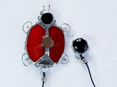 Embrace stained glass magnetic embrace red ladybugs от ArtsVitrail