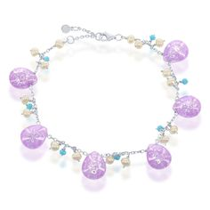 La Preciosa Sterling Silver Ice CZ Turquoise CZ and Freshwater Pearl Charm Bracelet (