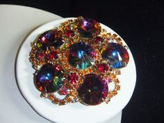 Vintage HUGE Juliana D&E BROOCH HELIOTROPE RED RHINESTONE VERIFIED BOOK PIECE #JulianaDE