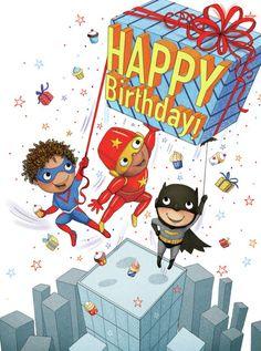 Happy Birthday Illustration, Greeting Card Companies, Happy Birthday Greetings, Birthday Images, 1st Christmas, Girl Birthday, Birthdays, Superhero, Postcards