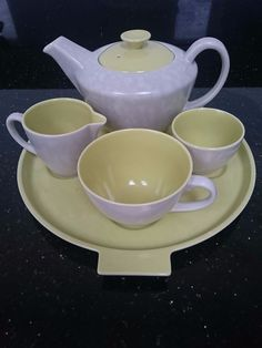 Poole Pottery Twintone Tea Set for 1 in Pottery, Porcelain & Glass, Pottery, Poole Kitchen Queen, Vintage China, The Dish, Tea Set, Cabinets, Porcelain, British, Pottery, Colours