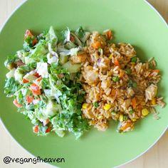 Delicious salad and fried rice. Vegan @ gluten free.  www.vegan-gf-heaven.net