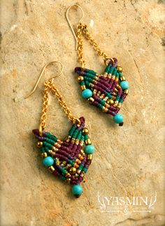 macrame earrings. These are sold on Etsy. 3/15   Really nice design and color combination.