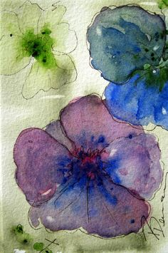 Pansies Original Floral Watercolor Painting by Redbird Cottage Art