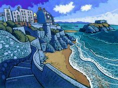 Tenby South Beach by Chris Neale Landscape Art, Landscape Paintings, Landscapes, Creative Wall Painting, Pictures To Paint, Sea Pictures, Naive Art, Print Artist, Amazing Art