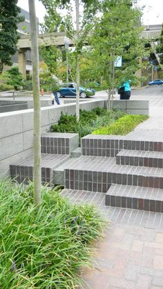 Stormwater Treatment System with runnel planter boxes @ PSU Urban Center Plaza, Portland, OR | Nevue Ngan Associates Landscape Architects | Photo by Pinner, 2012.