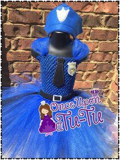 Tutú del oficial de policía. Chica policía. Disfraces de Halloween. Vestido para arriba. Vestido tutú. Tutú del cumpleaños.