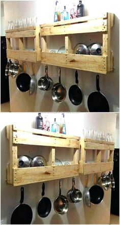 recycled wood pallet kitchen shelf