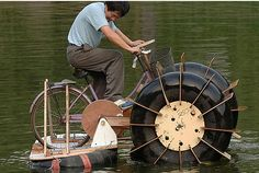 Repurpose, recycled materials result in unique bicycle, pedal power boat
