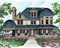 Eplans Queen Anne House Plan - Romanesque Beauty - 3459 Square Feet and 4 Bedrooms from Eplans - House Plan Code - - Not sure about the floor plan, but love the look! Victorian House Plans, Victorian Design, Victorian Homes, Victorian Farmhouse, Victorian Cottage, The Sims, Sims 4, Dream House Plans, House Floor Plans