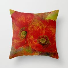 Poppies(red&orange). Throw Pillow