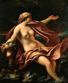 Giovanni Antonio Pellegrini - Abduction of Europa. Tags: europa, females seduced by zeus, jupiter, zeus in disguise, transformations,