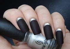 Ruffian / Reverse french manicure (by Lacquerized). I HAVE to find this matte black nail polish Matte Black Nails, Matte Nail Polish, Silver Nails, Nail Polish Designs, Nail Designs, Black Polish, Black Sparkle Nails, Black Coffin Nails, Metallic Nails