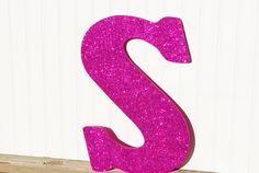 Decorative 18 Fuchsia Pink Glitter Wall Letters by LettersFromAtoZ, $20.00