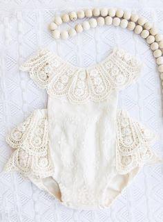 Handmade Vintage Style Boho Baby Playsuit | DellaAndBugHandmade #flowergirl