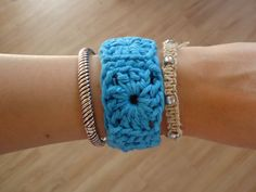 Crochet Granny Square Bracelet, Teal Blue.. Only 8 dollars! Click on the pic to pick one up