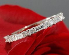 Halfway Diamond Wedding Band, Baguette Diamond Wedding Ring in White Gold (available in rose gold, yellow gold and platinum) – antique wedding rings ideas Diamond Stacking Rings, Eternity Ring Diamond, Diamond Bands, Diamond Cuts, Diamond Jewelry, Vintage Eternity Ring, Black Diamond, Solitaire Diamond, Baguette Diamond Wedding Band