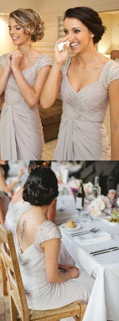 beaded bridesmaid dresses,light grey bridesmaid dresses,pleat bridesmaid dresses,long bridesmaid dresses