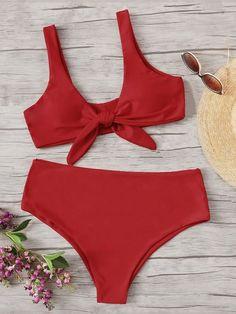 d0e66ba31d Plus Ruffle Bustier Top With Wave Print Bikini Set -SHEIN(SHEINSIDE ...