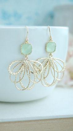 Feather Earrings, Light Mint Earrings. Mint Leaf Wedding. Gold Feathers, Gold Leaf Earrings, Bridesmaid Gift. Green Wedding, Minty Green, https://www.etsy.com/listing/172064834/feather-earrings-light-mint-earrings?ref=shop_home_active_16