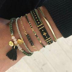 #wristband # green #brown #bileklik #yeşil #kahverengi #love #püskül #gold