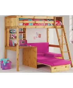 Classic High Sleeper with Blue Sofa Bed Frame - Pine. Big Girl Bedrooms, Girls Bedroom, Bedroom Ideas, Sofa Bed Frame, Pull Out Sofa Bed, High Sleeper, Childrens Beds, New Room, Bunk Beds