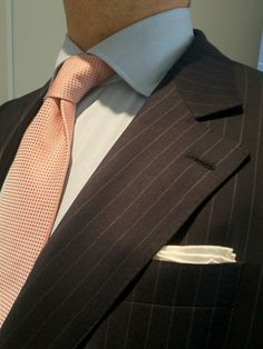 dirnelli:    Di Castri MTM pinstripe suit inspired by Camps de Luca notched lapel, in Loro Piana S130's from Four Seasons bunch. Di Castri tie from Boivin bunch. Simmonot Godard ps. Courtot bespoke shirt in Alumo 140/2 with muted PoW and pink Windowpane.
