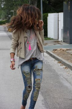Beige Cropped Jacket & White Tee & Ripped Skinny Denim Jeans from azita66.tumblr.com