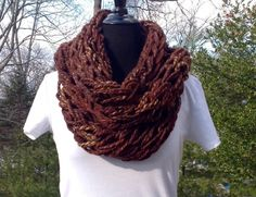 Brown Infinity Scarf/Brown Circle Scarf/Brown Scarf by KnitTilDawn