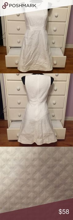 "J. Crew White Dress This dress is in good used condition and needs a new home. It has beautiful detailing and just needs to be ironed. The length is 35"". Please feel free to make an offer. 😊 J. Crew Dresses"