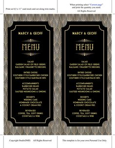 Printable Menu Card Template Great Gatsby Style Art by StudioDMD